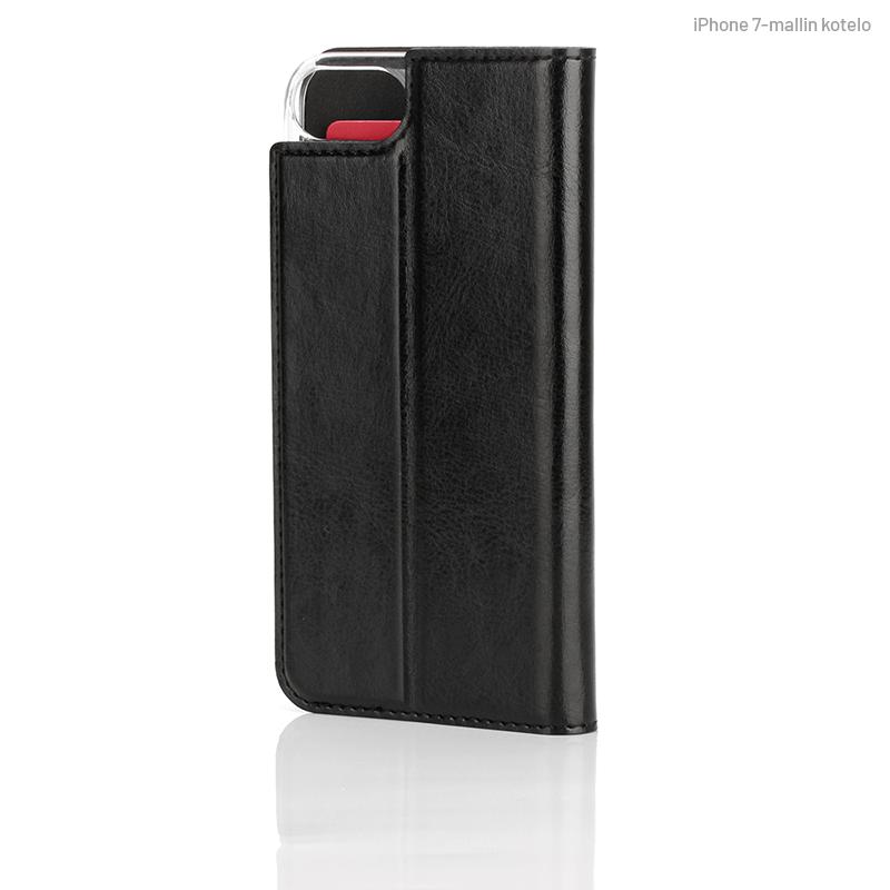 Musta Book Case, takapuolelta (iPhone 7)