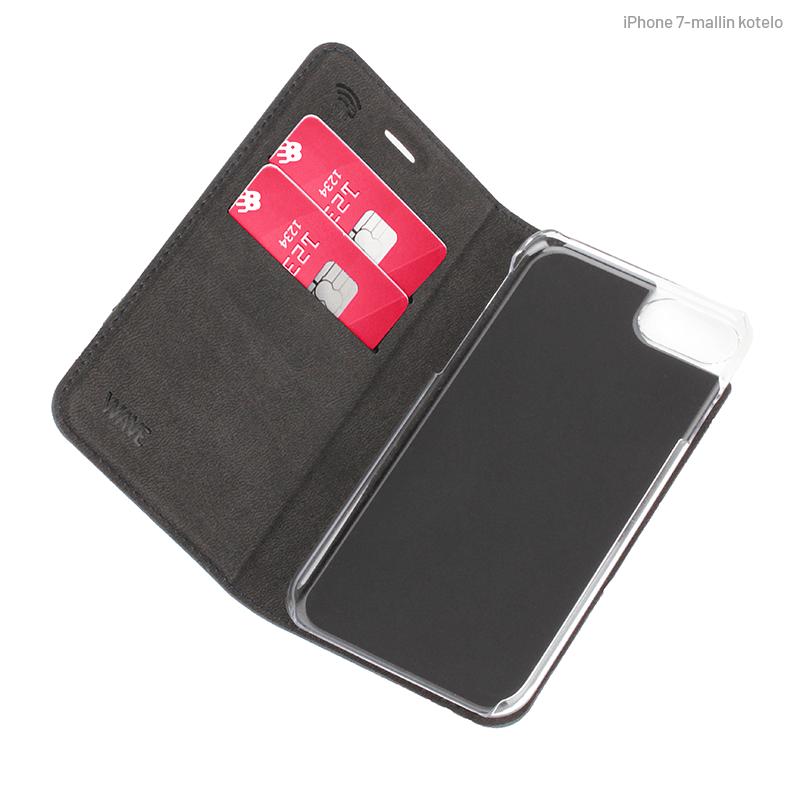 Sininen Book Case, sisäpuolelta (iPhone 7)