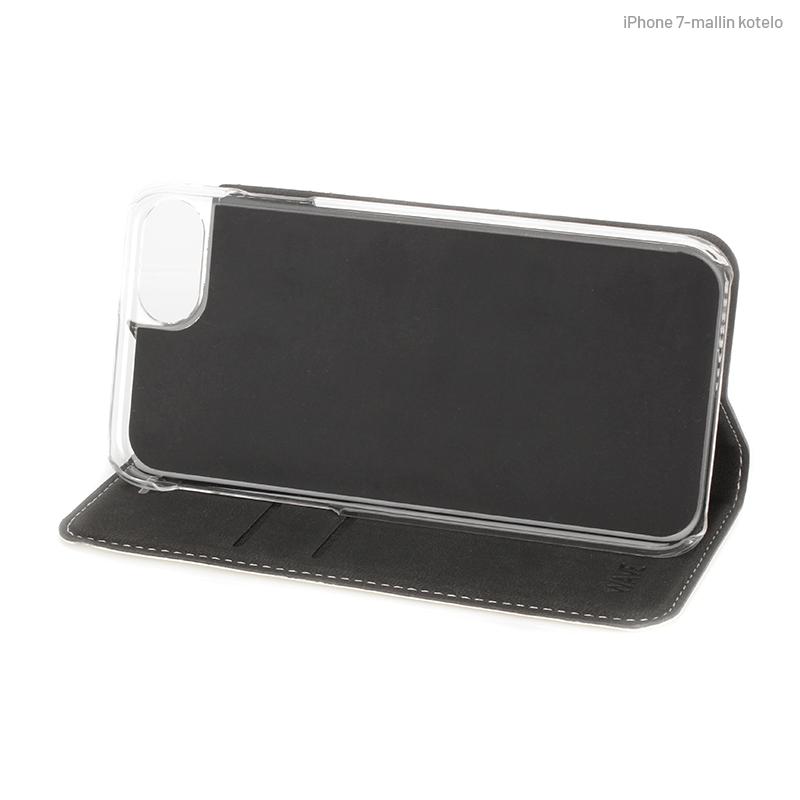 Valkoinen Book Case, telineenä (iPhone 7)