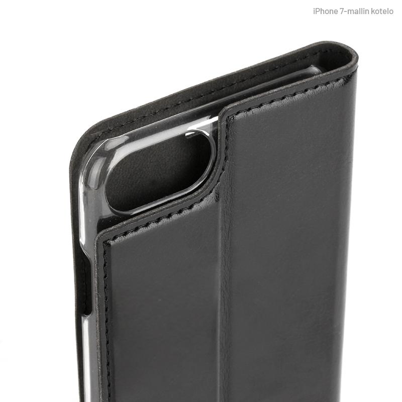 Musta Book Case, Kamera-aukon kohdalta (iPhone 7)