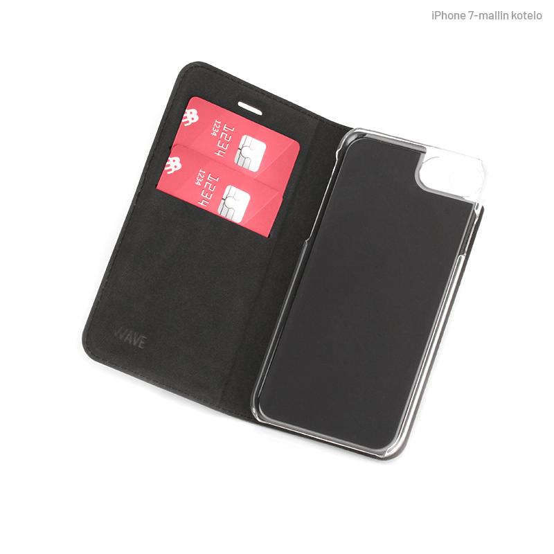 Musta Book Case, sisäpuolelta (iPhone 7)